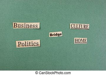 切口, 単語, コラージュ, 緑の背景, 新聞