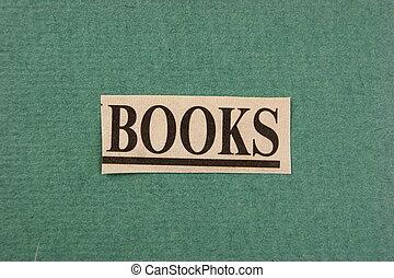 切口, 単語, 本, 緑の背景, 新聞