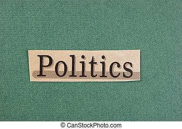 切口, 単語, 緑の背景, 新聞, 政治