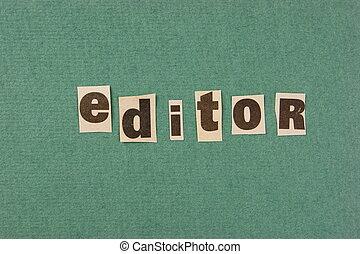 切口, 単語, 緑, 編集者, 背景, 新聞