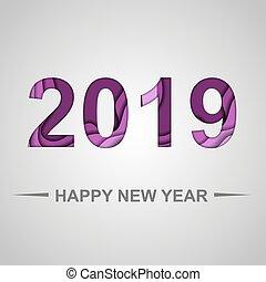 切口, 形, ペーパー, 2019, 背景, 年, 新しい, 幸せ