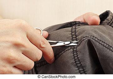 切口, 手, clothier, はさみ, 対, クローズアップ, 綿, 衣服