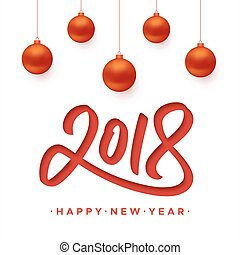 切口, 挨拶, ペーパー, 2018, 年, 新しい, カード, 幸せ
