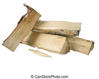 切口, 木材を伐採する, 火, 上に, 隔離された, 木, 白