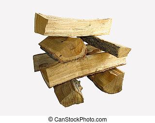 切口, 木材を伐採する, 火, 上に, 隔離された, 木, 白, 山