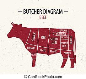 切口, 肉, ポスター, beef., 肉屋, stores., 図, 食料雑貨