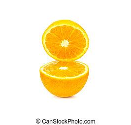 切口, 隔離された, 背景, 半分, オレンジ, 白