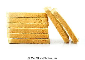切口, 隔離された, 背景, 新たに, 白パン