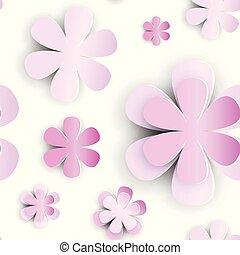 切口, florar, パターン, seamless, 要素, ペーパー, 背景, 白い花