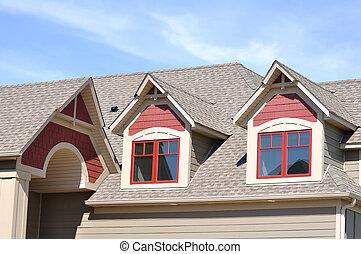 切妻, 屋根窓, 上に, 住宅の, 家