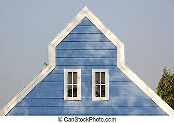 切妻, 窓, 家, 屋根, 木製である, 白