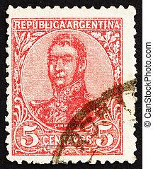 切手, アルゼンチン, 1908, jose, de, san, イワツバメ, 将官