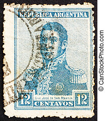 切手, アルゼンチン, 1917, jose, de, san, イワツバメ, 将官