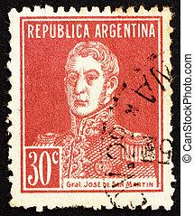 切手, アルゼンチン, 1923, jose, de, san, イワツバメ, 将官