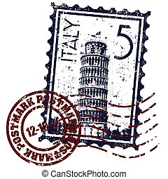 切手, イラスト, イタリア, 隔離された, アイコン, ベクトル, 単一