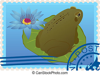 切手, カエル