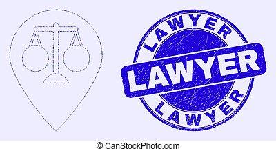切手, グランジ, シール, マーカー, 青, 弁護士, 正義, 地図, モザイク