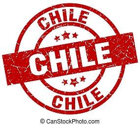 切手, グランジ, チリ, 赤, ラウンド
