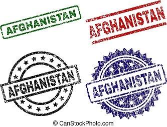 切手, シール, textured, アフガニスタン, 傷つけられる