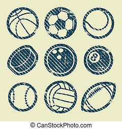 切手, スポーツ, グランジ, ボール, アイコン