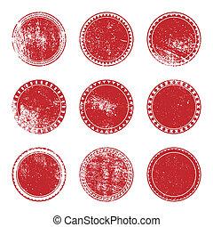 切手, セット, グランジ, 赤