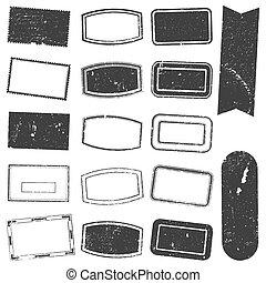 切手, セット, グランジ, 長方形
