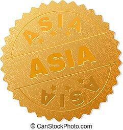 切手, バッジ, 金, アジア