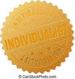 切手, バッジ, 金, 個人主義者