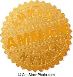 切手, バッジ, 金, amman