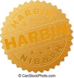 切手, バッジ, 金, harbin