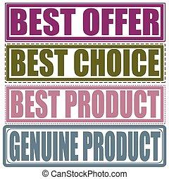 切手, プロダクト, 提供, 本物, 最も良く, セット, プロダクト, 選択