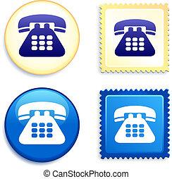 切手, ボタン, 電話