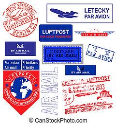 切手, メール, ベクトル, セット, 空気
