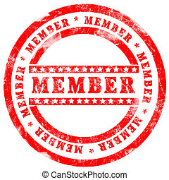 切手, 上に, メンバー, 背景, 白い赤