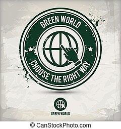 切手, 世界, 選択肢, 緑