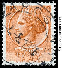 切手, 印刷される, イタリア, ショー, italia, turrita
