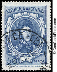 切手, ∥印刷する∥通り過ぎて∥, アルゼンチン, ショー, 将官, jose, de, san, イワツバメ