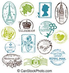 切手, 型, -, コレクション, あなたの, ゴム, ベクトル, スクラップブック, デザイン