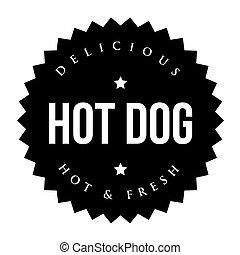 切手, 型, 暑い, 黒い犬