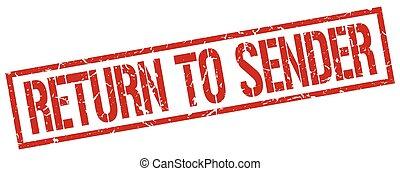 切手, 型, 送り主, グランジ, リターン, 赤, ゴム, 広場