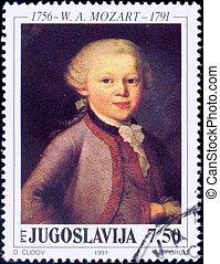 切手, 天才, -, 若い, モーツァルト
