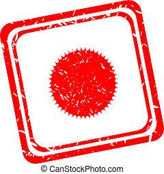 切手, 太陽, サンルーム, シンボル。, 印, 熱, button., icon., 赤