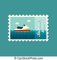 切手, 平ら, スキー, ジェット機