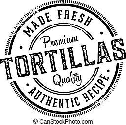 切手, 新たに, tortillas, 作られた