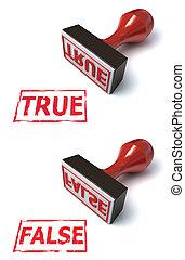 切手, 本当, 虚偽である