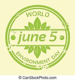 切手, 環境, ロゴ, 世界, 日, アイコン