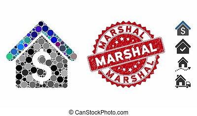 切手, 賃貸料, アイコン, 家, textured, marshal, コラージュ