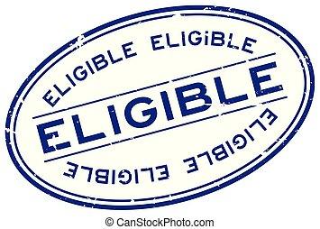 切手, 資格がある, シール, 白い背景, グランジ, オバール, 単語, ゴム, 青