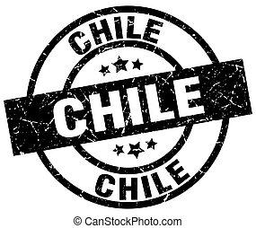切手, 黒, グランジ, ラウンド, チリ