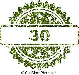 切手, 30, グランジ, textured, シール